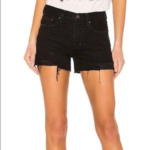 Free People Distressed Black Denim Shorts